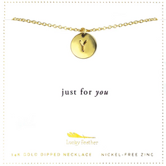 Letter Disc Necklace - Gold - Y