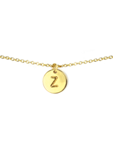 Letter Disc Necklace - Gold - Z