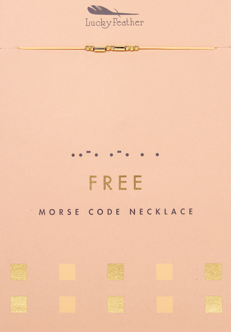 Morse Code Necklace - Gold - FREE