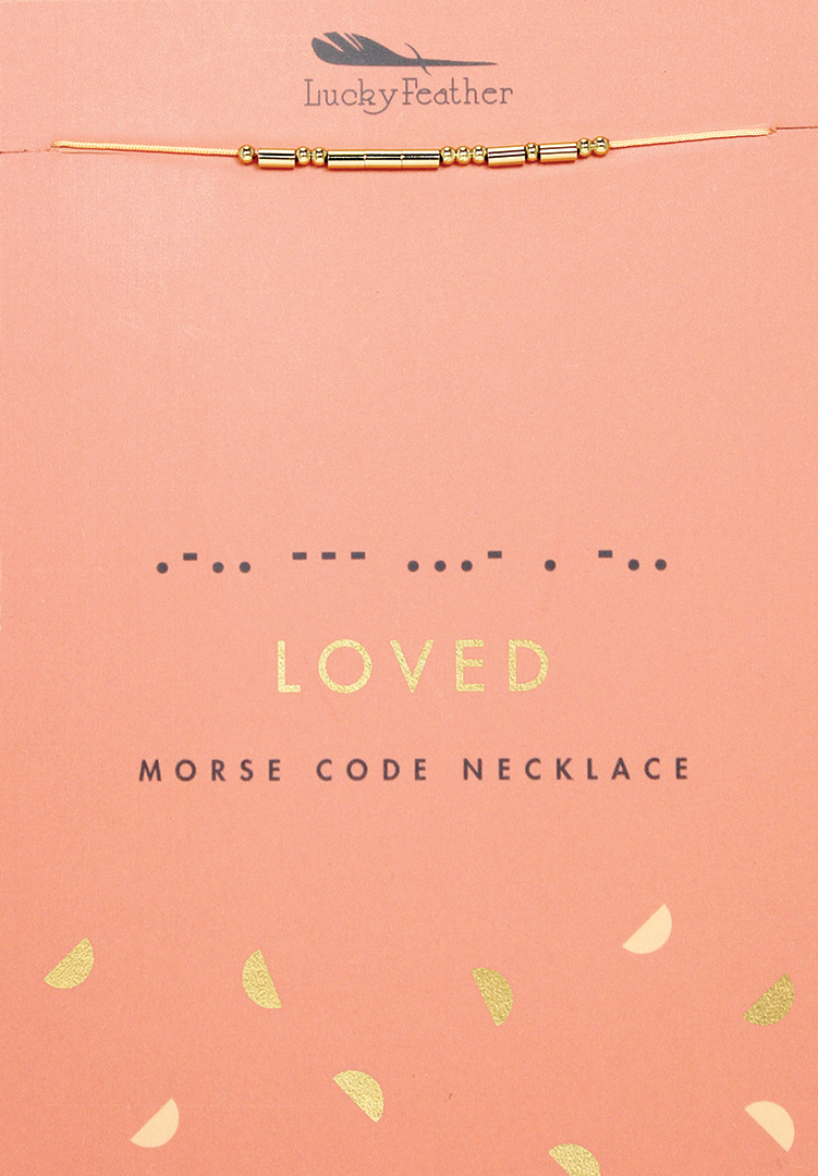 Morse Code Necklace - Gold - LOVED