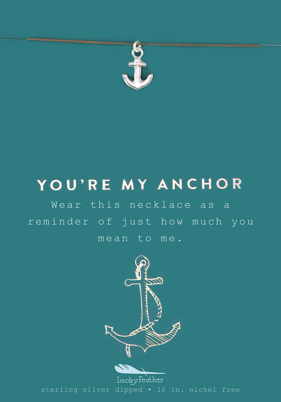 New Moon Silver Necklace - YOU'RE MY/ANCHOR