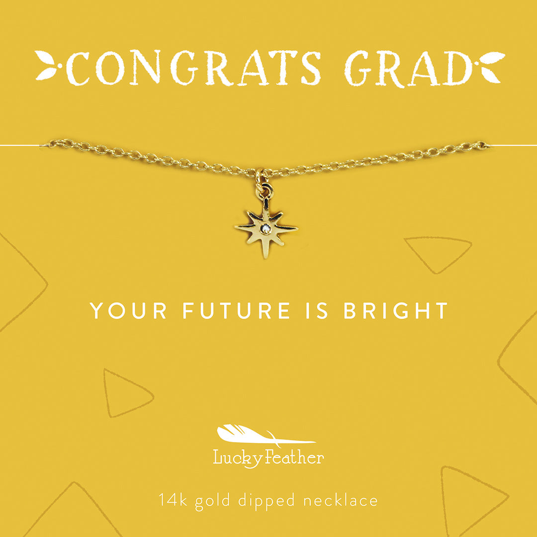 Lucky Feather Congrats Grad Graduation Gift Necklaces - Future is Bright