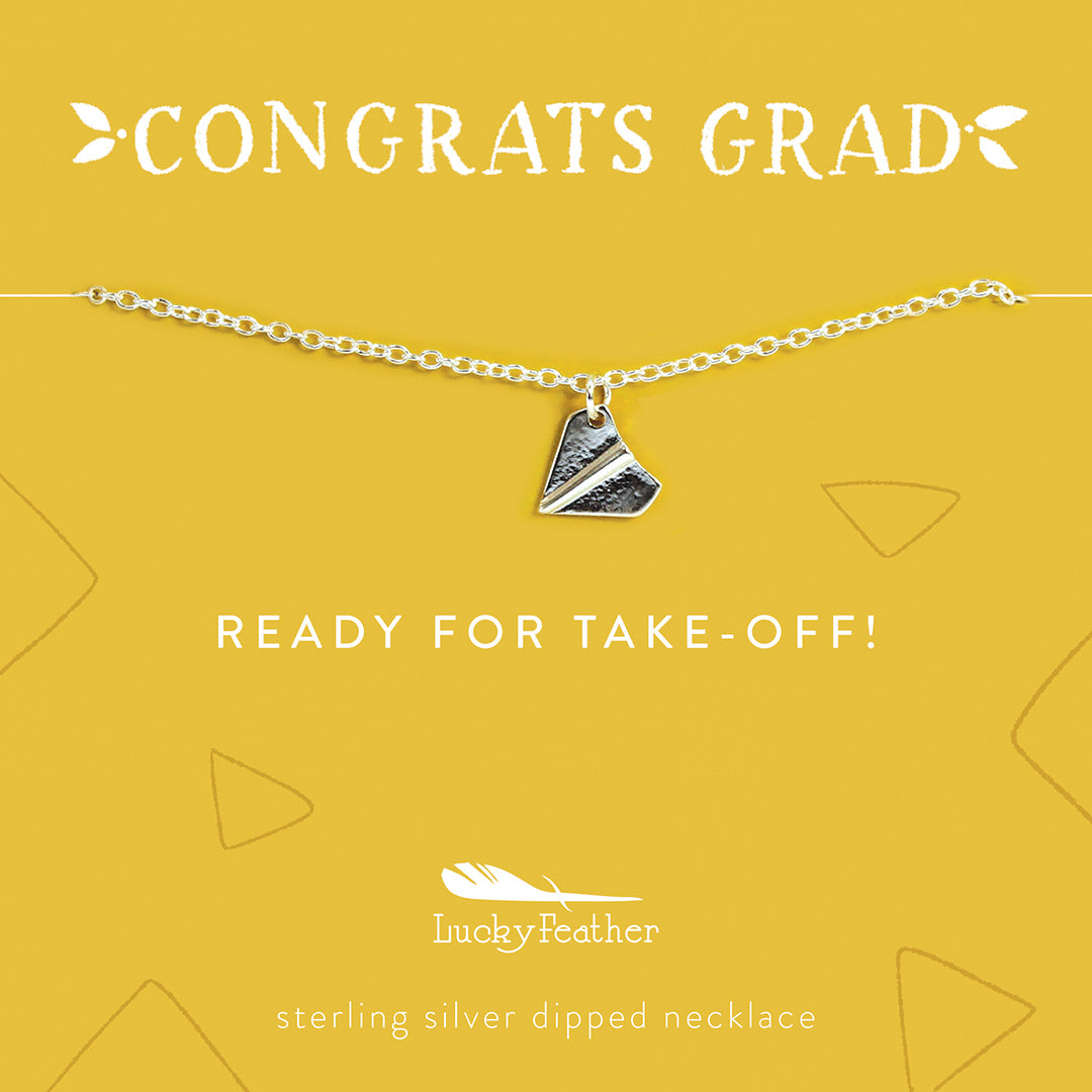Lucky Feather Congrats Grad Graduation Gift Necklaces - Ready for Takeoff