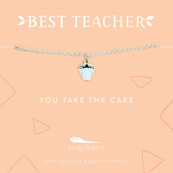 Teacher Necklace - You Take the Cake - Silver - Cupcake