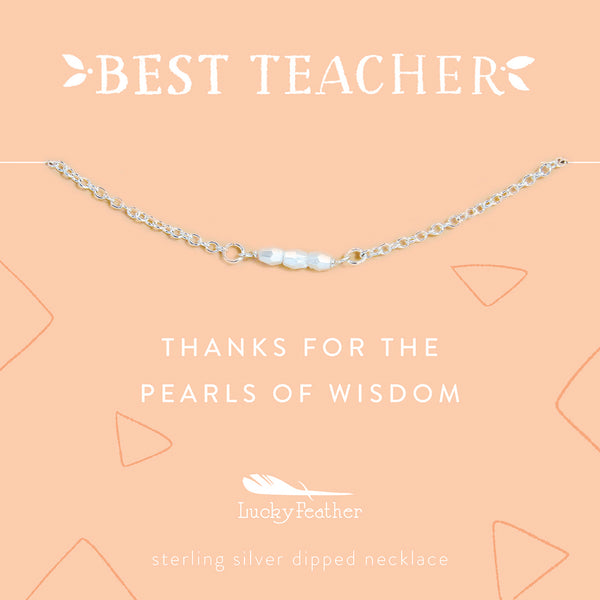 Teacher Necklace - Thanks for the Pearl of Wisdom - Silver - 3 Little Pearls