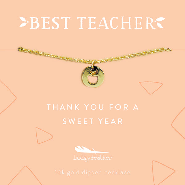 Teacher Necklace - Thank You For a Sweet Year - Gold - Apple