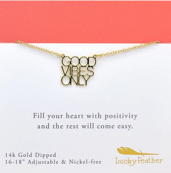 Lucky Feather Good Vibes Only Friendship Necklace for Girls - 14K Gold Dipped with Adjustable Chain - BFF Gifts
