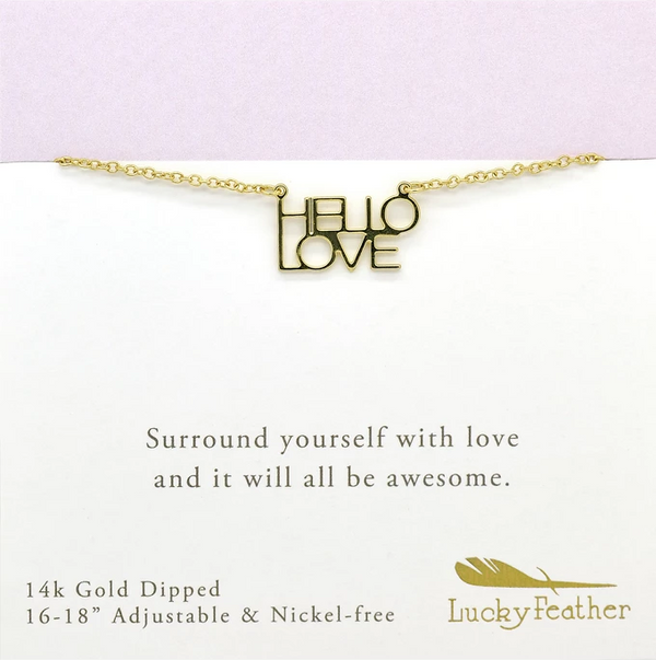 "Lucky Feather ""Hello Love"" Necklace for Girls - 14K Gold Dipped with Adjustable Chain - Best Friend Gifts"
