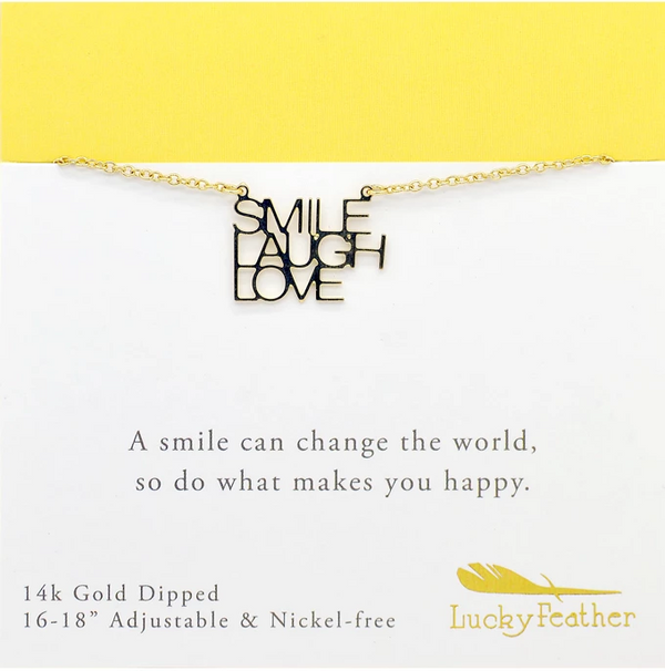 "Lucky Feather ""Smile Laugh Love"" Strength Friendship Necklace for Girls - 14K Gold Dipped with Adjustable Chain"