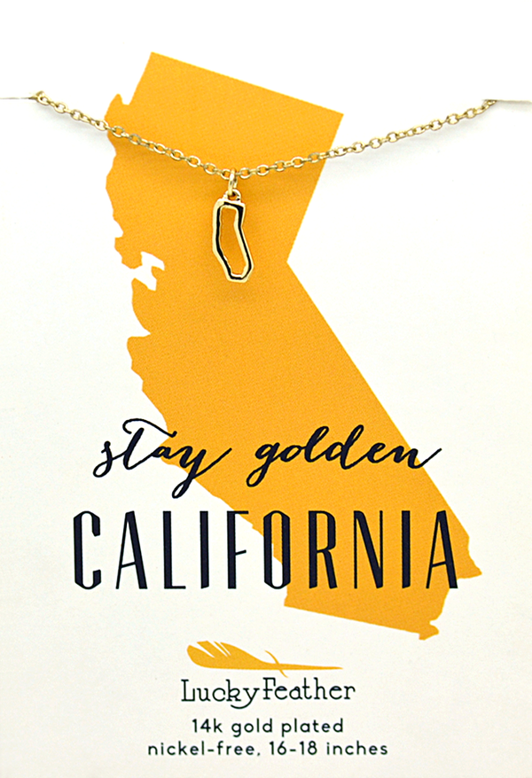 "Lucky Feather California Shaped State Necklace, 14K Gold-Dipped Pendant on Adjustable 16""-18"" Chain"
