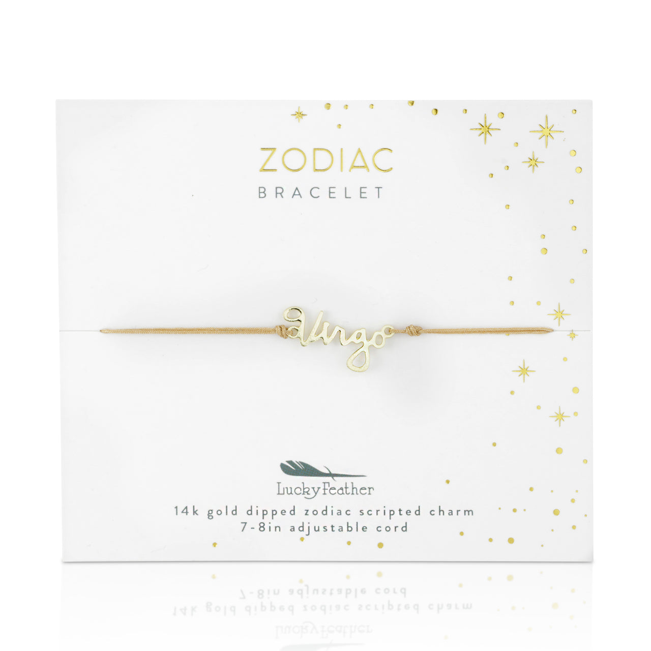 Zodiac Cord Bracelet Gold - VIRGO - August 23 - September 22