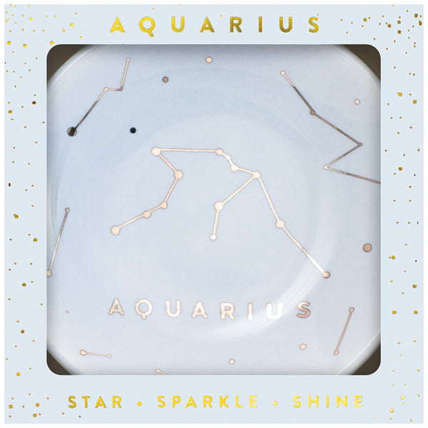 Zodiac Ring Dish– Glazed Ceramic Jewelry Tray with Astrological Constellation Depicted in Metallic Gold - AQUARIUS