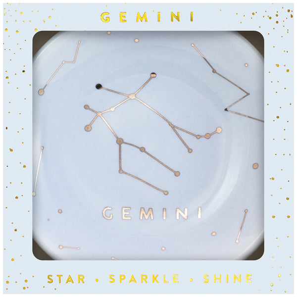 Zodiac Ring Dish– Glazed Ceramic Jewelry Tray with Astrological Constellation Depicted in Metallic Gold - GEMINI
