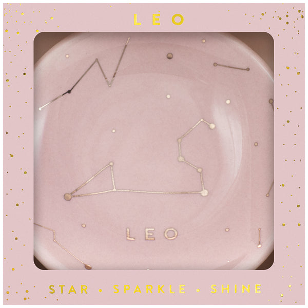 Zodiac Ring Dish– Glazed Ceramic Jewelry Tray with Astrological Constellation Depicted in Metallic Gold - LEO