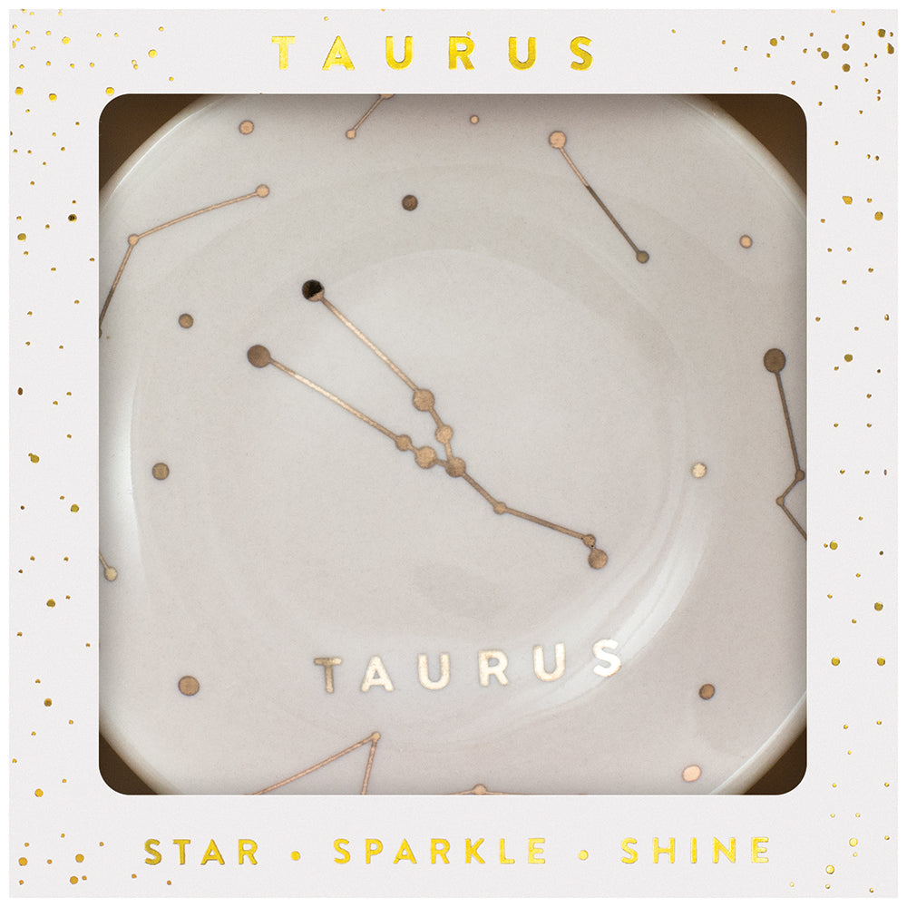 Zodiac Ring Dish– Glazed Ceramic Jewelry Tray with Astrological Constellation Depicted in Metallic Gold - TAURUS