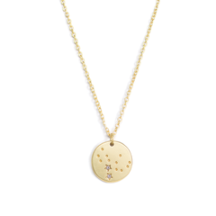 "Lucky Feather Virgo Zodiac Sign Constellation Pendant Necklace for Women, 14K Gold-Dipped with Adjustable 16"" – 18"" Chain"