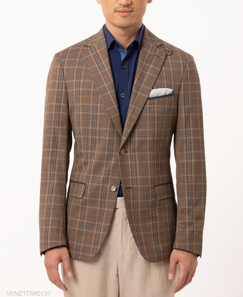 TALLIA BROWN/TAN PLAID BLAZER
