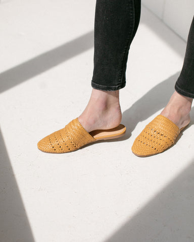 Salt+Umber Woven Leather Lily Slides in Mustard