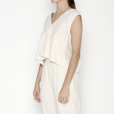 7115 Signature Raw Silk Reversible Tank Off White