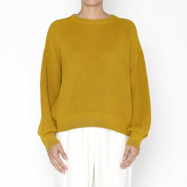 7115 by Szeki | Poet Sleeves Cotton Sweater in Chartreuse