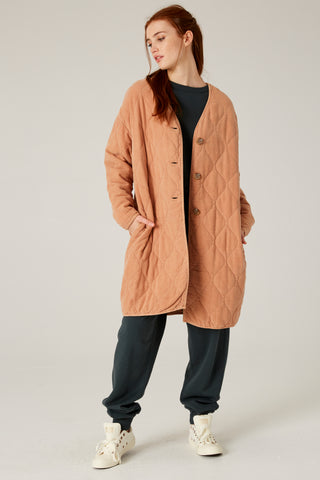 Filosofia Brooklyn Quilted Coat in Sandy Brown