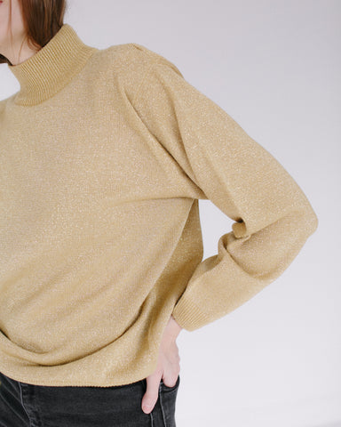 Kaleidos Vintage Gold Shimmer Mock Neck Sweater