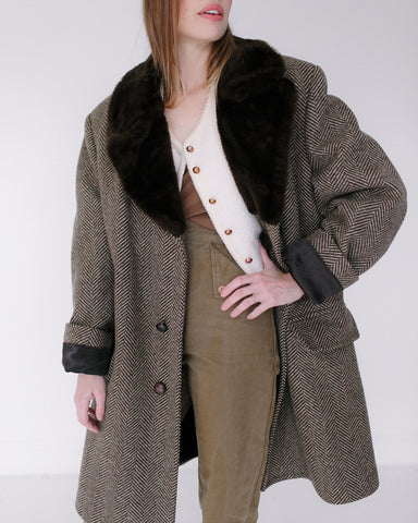 Kaleidos Vintage London Fog Herringbone Coat