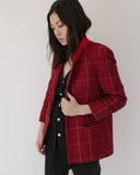 Kaleidos Vintage Red Wool Plaid Blazer