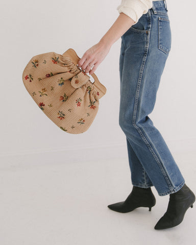 Kaleidos Vintage Flower Bag with Wooden Handles
