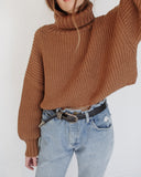 First Rite Crop Turtleneck Camel