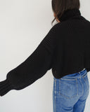 First Rite Crop Turtleneck Black