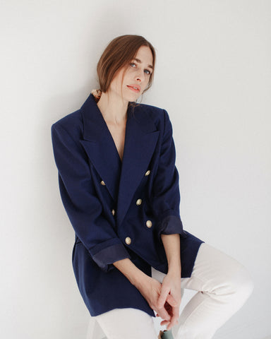 Kaleidos Vintage Navy Nautical Wool Blazer