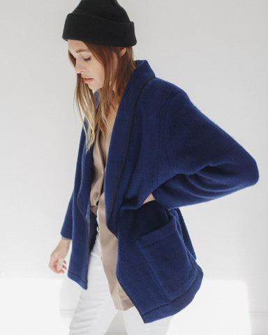 Kaleidos Vintage Midnight Blue Fleece Blazer
