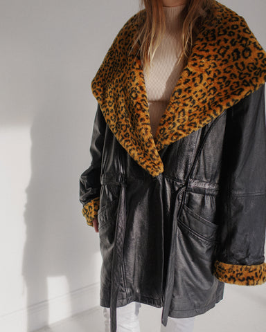 Kaleidos Vintage Leopard Faux Fur Collar Leather Jacket