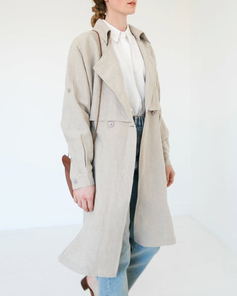 7115 by Szeki Signature Linen Trench Duster