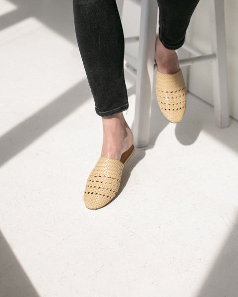 Salt+Umber Woven Leather Lily Slides Beige