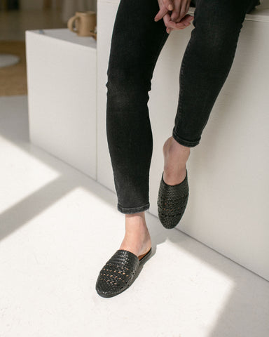 Salt+Umber Woven Leather Lily Slides Black