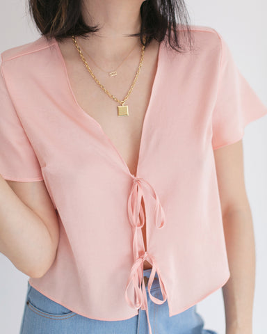 Side Party Satin Tie Blouse
