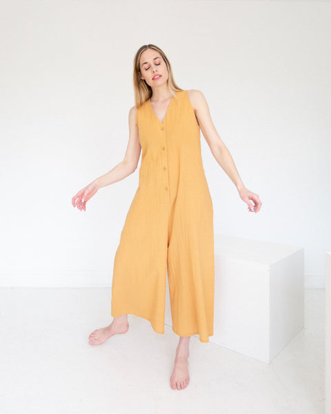 7115 by Szeki Wide Legged Jumpsuit Golden Yellow