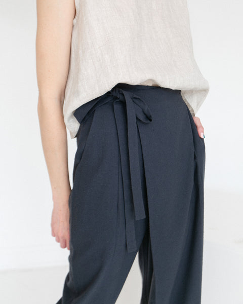7115 by Szeki Raw Silk Ainsley Wrap Pants Navy