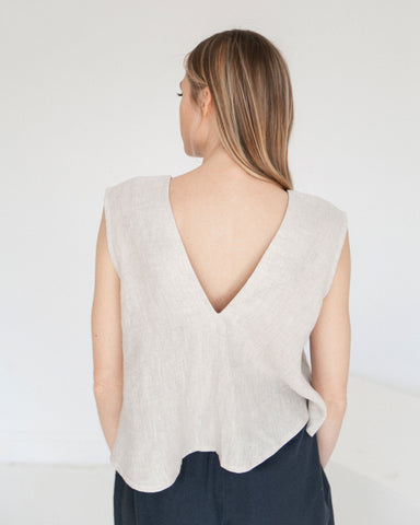 7115 by Szeki Reversible Linen Top Beige