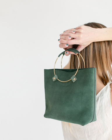 Tribe Alive Luxe Brass Handle Bag in Sage