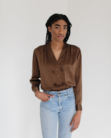 ed3ea339d9bb Sold Out Kaleidos Vintage Chocolate Silk Blouse