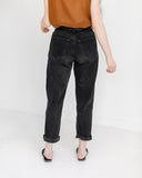 Kaleidos Vintage Raw Hem Black Denim, Size 29