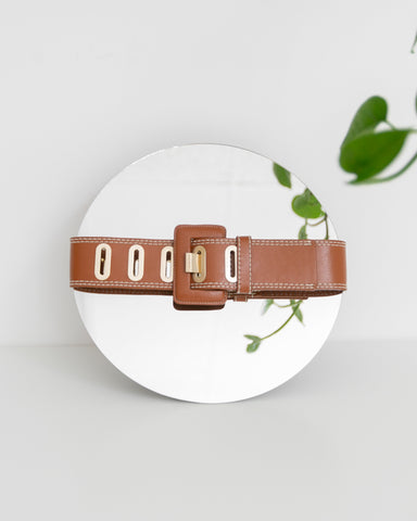 7ff30351ac08 Vintage Brown Leather Huarache.   38.00. Sold Out Kaleidos Wide Brown Belt  with Brass Slit Loops