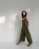 Ali Golden V-Neck Jumpsuit in Olive