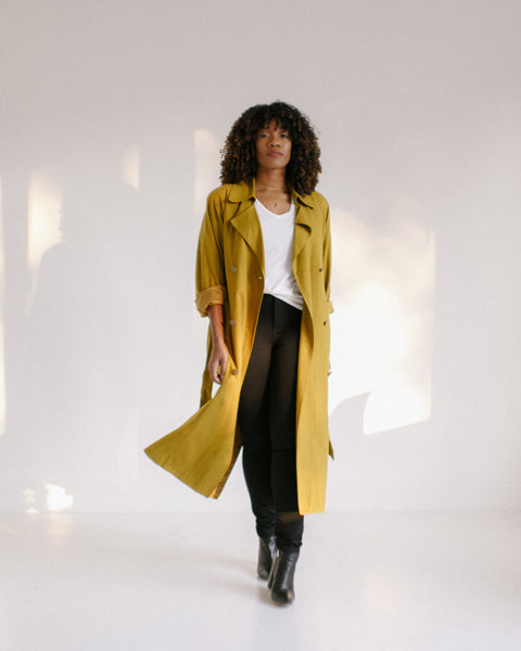 Kaleidos Vintage Raw Silk Trench Coat