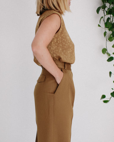 Kaleidos Vintage Bronze Floral Sleeveless Top, Vintage Bronze High Waist Wool Pant