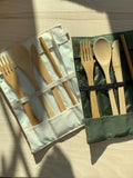 No Tox Life Utensil Wrap Set Canvas and Bamboo