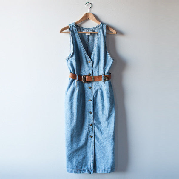 VINTAGE - Belted Denim Dress